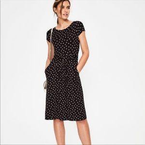 Boden Polka Dot Jersey Knit Dress Black Pink 4R